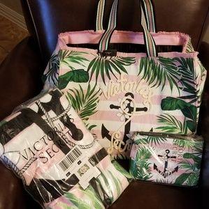 Victoria Secret Beach Tote, Beach Towel &Wristlet